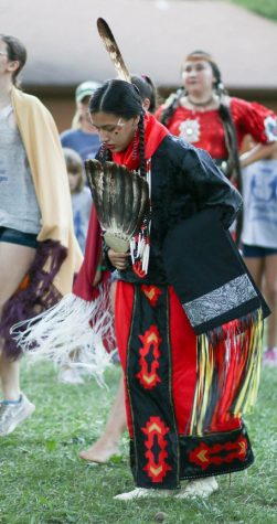 Mida Little Eagle performs a cultural ceremony. Photo courtesy of Mida Little Eagle.