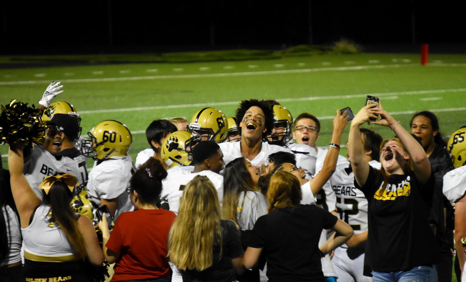 Turner students gather to celebrate the 52-0 win against JC Harmon on September 17.